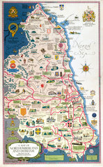 Map of Northumberland and Durham  BR (NER) poster  1949.