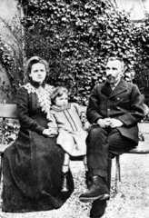 Marie and Pierre Curie  French physicists  with their daughter  1904.