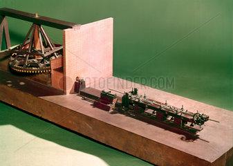 Model gun-boring machine.