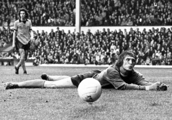 Gary Pierce saves a Liverpool goal  6 October 1975.