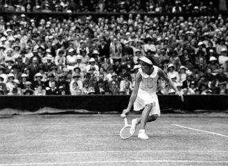 Miss J Hartigan in action at Wimbledon  1935.