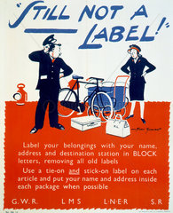 'STILL not a Label!'  GWR/LMS/LNER/SR poster  1945.