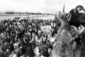 CND 'Jobs not Bombs' demonstration  Blackpool beach  September 1982.