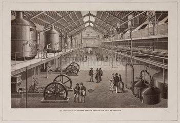 Interior view of a sugar refinery  France  late 19th century.