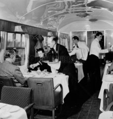 British Railways Stewards serving drinks in the First Class dining car  1951.