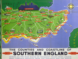 'Southern England'  BR poster  1950s.