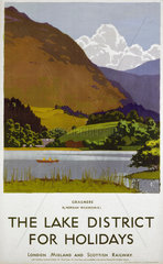 'The Lake District for Holidays'  LMS poster  1930s.