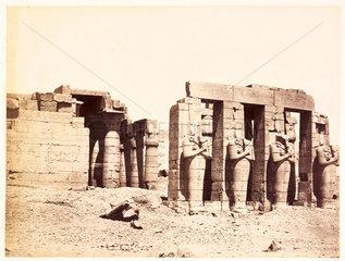 'Rhameseum facade  Thebes'  c 1880.