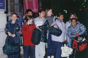 Children arriving at Science Night  17 November 2000.