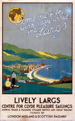 'Lively Largs'  LMS poster  1923-1947.