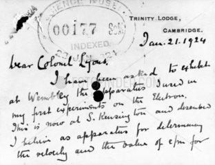 Letter from Sir Joseph J Thomson  English physicist   1924.
