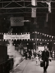 Fenchurch street Station welcomes Olympic visitors  20 July 1948.