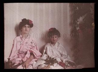 Two girls in Oriental costume  1908.