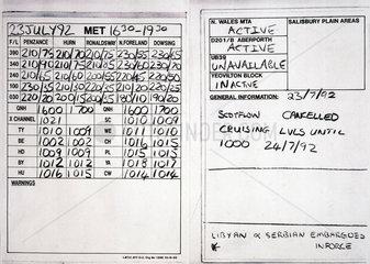 Air traffic control information  July 1992.