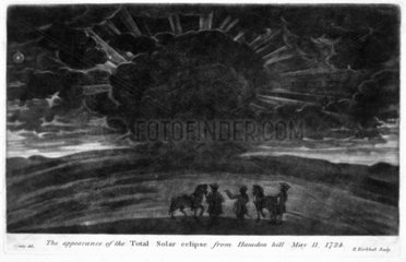 Total solar eclipse viewed from Haradon Hill  Wiltshire  11 May 1724.