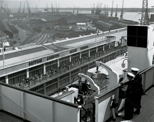 Ocean Terminal from the bridge of the 'Queen Mary'  Southampton  1950.