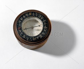 Chinese mariner's compass  mid 19th century.