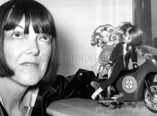 Mary Quant with dolls wearing her outfits  January 1974.