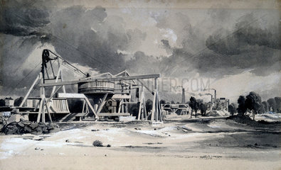 Headgear and pumps at Kilsby Tunnel  Northamptonshire  16 July 1837.