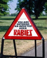 Rabies sign  England  1989.