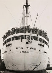 The 'Windrush' arrives from Jamaica  21 June 1948.