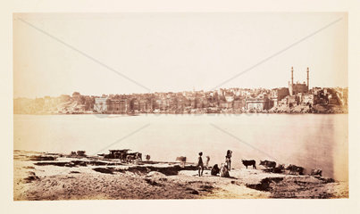 'Benares - General View From Opposite Bank Of The Ganges'  c 1865.