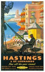 'Hastings & St Leonards'  BR poster  1952.