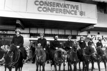 Riot police guarding the Conservative Party Conference  1981.