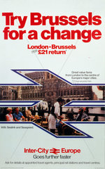 'Try Brussels for a change'  British Rail poster  c 1980s.