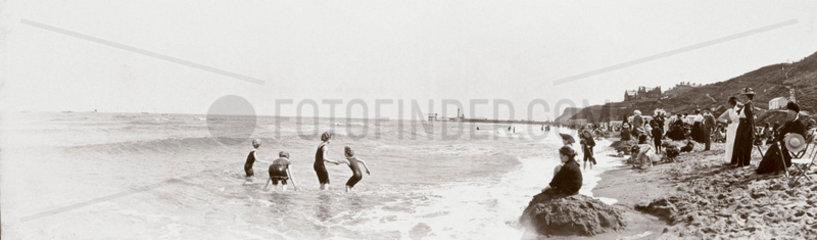 On the beach at Whitby  North Yorkshire  c 1900.