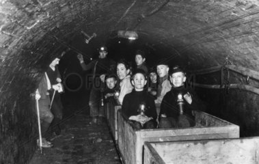 Boys riding a train to a lecture at the coal face  Thorncliffe Colliery  Sheffield  1938.