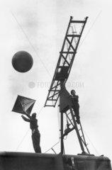 Demonstrating mobile radar equipment  Hyde Park in London  17 August 1945.