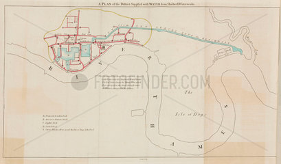 Plan of the district supplied by Shadwell Water Works  London  1796.