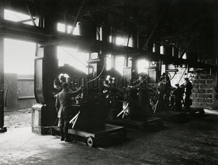 Aero engines  mounted in test stands  being test run  c 1918.