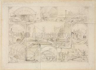 Nine views of the Metropolitan Railway during construction  1864.