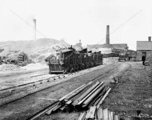 Derelict wagons at Denby Colliery  Derbyshi