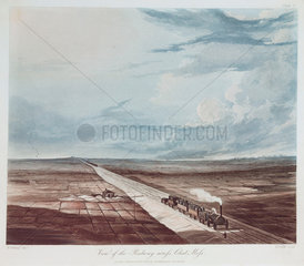 'View of the railway across Chat Moss'  1831.