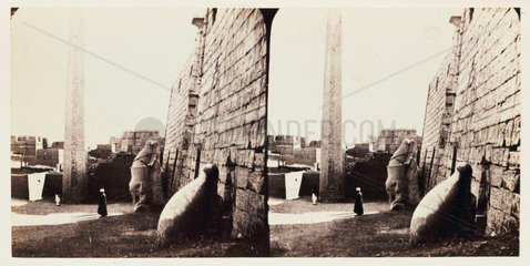 'The Temple of Luxor  Thebes - The Obelisk'  1859.