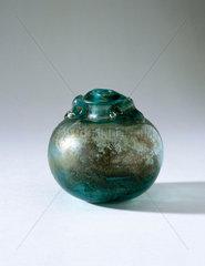 Spherical glass bottle.