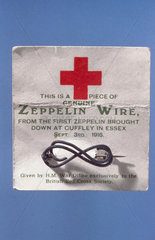 Red Cross fund-raising brooch made from Zeppelin wire  1917.