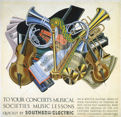 'To your Concerts  Musical Societies  Musical Lessons'  SR poster  1930s.