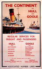 'The Continent via Hull and Goole'  BR poster  c 1970s.