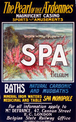 'Spa - The Pearl of the Ardennes'  Belgian State Railways poster  1922.