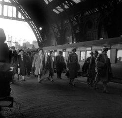Passengers arriving at St Pancras Station  London  1950.