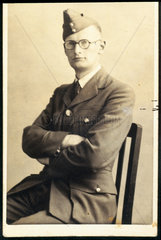 Arthur C Clarke wearing RAF uniform  c 1942.