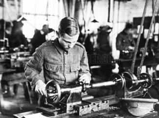 School boys working on munitions  WWI. Boy