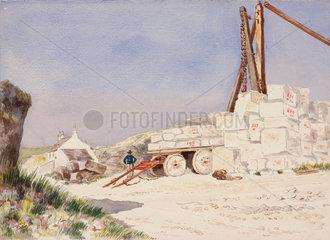 Limestone quarry on the Isle of Portland  Dorset  1889.