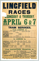 Handbill - 'Lingfield Races'  showing the timetable for the trains to Lingfield.