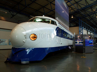 Japanese 'Bullet' train on display at the National Railway Museum  York  2003.