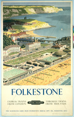 'Folkestone'  BR (SR) poster  c 1950s.